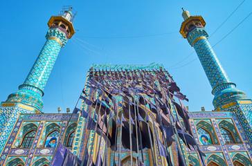 Ashura flags in Tajrish Square and on Imamzadeh Saleh Holy Shrine, Tehran, Iran Fototapete