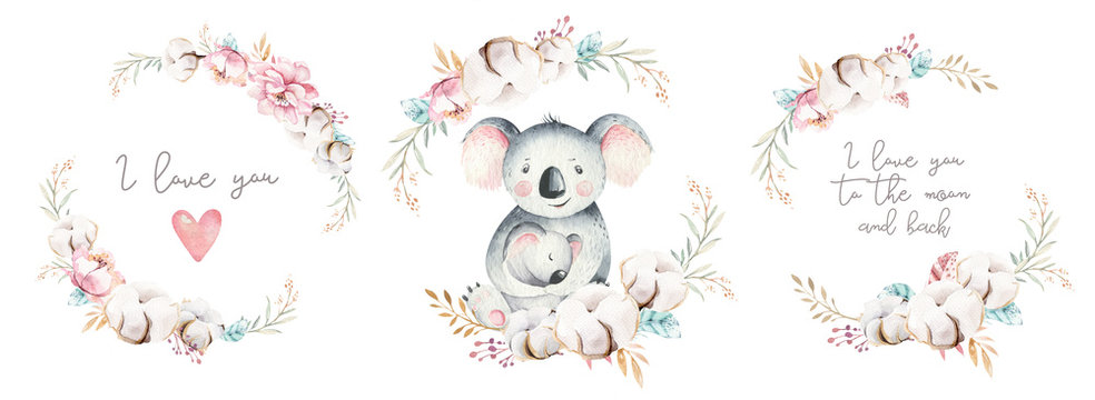 Watercolor cute cartoon little baby and mom koala with floral wreath. Isolated tropical illustration. Mother and baby design. Animal family. Kid love birthday drawing