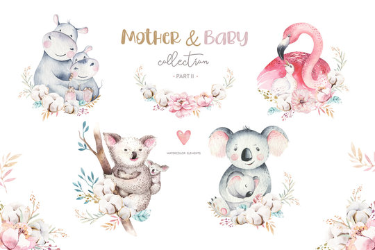 Watercolor cute cartoon illustration with cute mommy flamingo and baby, flower leaves. Mother hippo and baby illustration bird design. Tropical mom koala
