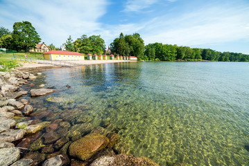 Summer panorama landscape with lake bay