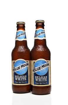 IRVINE, CALFORNIA - FEBRUARY 17, 2019: Two bottles of Blue Moon Belgian White Ale from Tenth and Blake Beer Company, the craft / import division of Chicago-based MillerCoors.