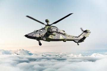 Poster Helicopter German military armed attack helicopter in flight