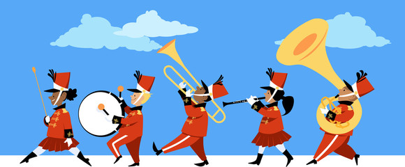 Cute children playing instruments in a marching band parade, EPS 8 vector illustration