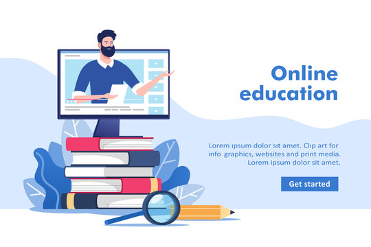 Online education or business training concept, study guides, exam preparation, home schooling. Pile of books and pc with mentor. Vector illustration for mobile and web graphics.