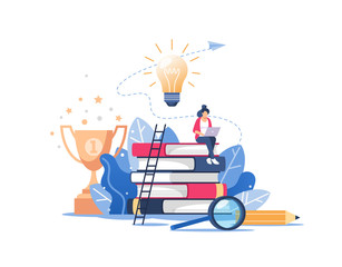 Person gains knowledge for success and better ideas. Online education or business training concept, distance courses, study guides, exam preparation, home schooling. Vector illustration.