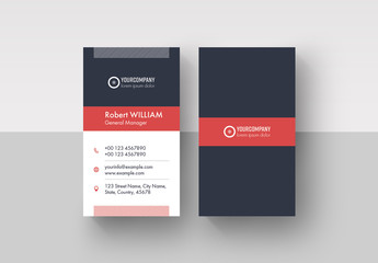 Business Card Layout with Red Accents