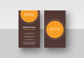 Business Card Layout with Orange Elements