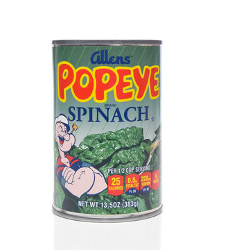 IRVINE, CALIFORNIA - APRIL 5, 2018: A can of Allens Popeye Spinach. Allens produces a line of the canned vegetable using the popular cartoon character known for his love of Spinach.