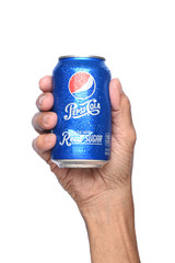 IRVINE, CALIFORNIA - APRIL 26, 2019: Closeup of a hand holding a cold can of Pepsi Cola, made with real sugar.
