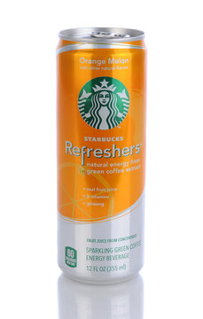 IRVINE, CA - January 11, 2013: A 12 oz can of Starbucks Orange Melon Refreshers Energy Beverage. Seattle based Starbucks is the largest coffeehouse company in the world, with over 20,000 stores in 62