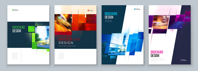 Obraz Set of Brochure Cover Template Layout Design. Corporate business annual report, catalog, magazine, flyer mockup. Creative modern bright concept with square shape - fototapety do salonu