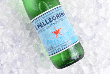 IRVINE, CALIFORNIA - MARCH 16, 2017: San Pellegrino Mineral Water on ice.  The sparkling water is produced in San Pellegrino Terme, in the Province of Bergamo, Lombardy, Italy.