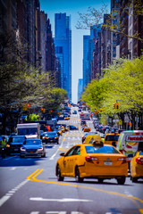 Foto op Canvas New York TAXI traffic in city