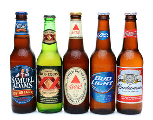 JULY 14, 2014: 5 bottles of assorted cold beers. Domestic and Imported brews including, Budweiser, Bud Light, Bass, Dos Equis and Samuel Adams.d Cold Beers