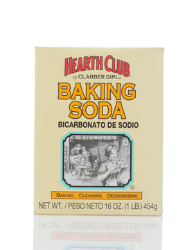IRVINE, CALIFORNIA - MAY 22, 2019:  A box of Hearth Club Baking Soda from Clabber Girl. Sodium bicarbonate is used for baking, cleaning and deodorizing.