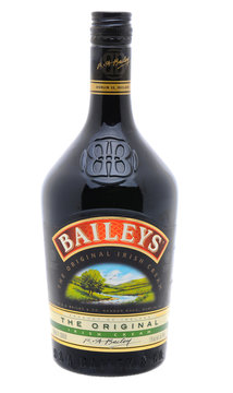 IRVINE, CA - January 11, 2013: Photo of a 750ml Bottle of Baileys Irish Cream liqueur. Baileys, introduced in 1974, was the first Irish Cream to be brought to market.