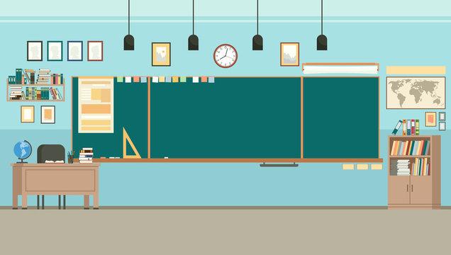 School classroom with chalkboard. Study class with blackboard and teachers desk. Vector
