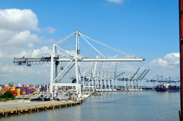Foto op Plexiglas Stadion Container terminal in the port of Savannah, Georgia.