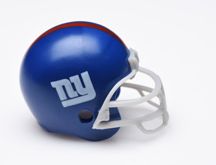 IRVINE, CALIFORNIA - SEPTEMBER 5, 2018: Mini Collectable Football Helmet for the New York Giants of the National Football Conference East.