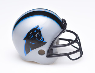 IRVINE, CALIFORNIA - AUGUST 30, 2018: Mini Collectable Football Helmet for the Carolina Panthers of the National Football Conference South.