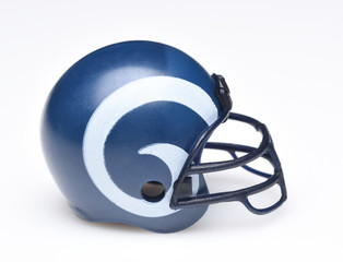 IRVINE, CALIFORNIA - AUGUST 30, 2018: Mini Collectable Football Helmet forf the Los Angeles Rams of the National Football Conference West.