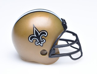 IRVINE, CALIFORNIA - AUGUST 30, 2018: Mini Collectable Football Helmet for the New Orleans Saints of the National Football Conference South.