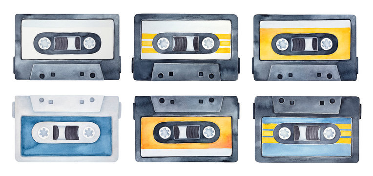 Watercolor set of vintage compact cassettes. Symbol of music, sound, playlist, audio equipment. Hand drawn watercolour graphic drawing on white, cutout clipart elements for creative design decoration.