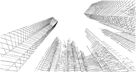 city architecture sketch 3d illustration Fototapete