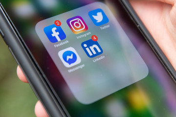 General view of social media app icons on iPhone XS Max in Everett, Washington on August 8, 2019