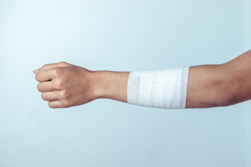 Wounds at the arm,bandages a hand wound pain medicine Wall mural