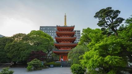 Wall Mural - Tochoji Temple with the Red Pagoda in Hakata, Fukuoka Prefecture, Japan