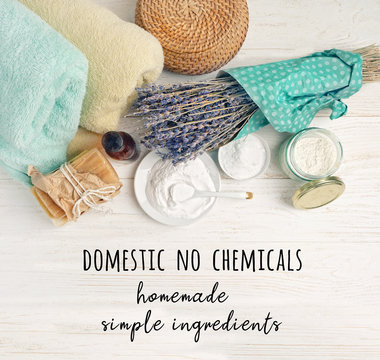 domestic no chemicals. homemade simple ingredients. Zero waste concept. Eco friendly products for cleaning and care. Ingredients DIY - essential oil, salt, bath soap, baking soda, vinegar, lavender.