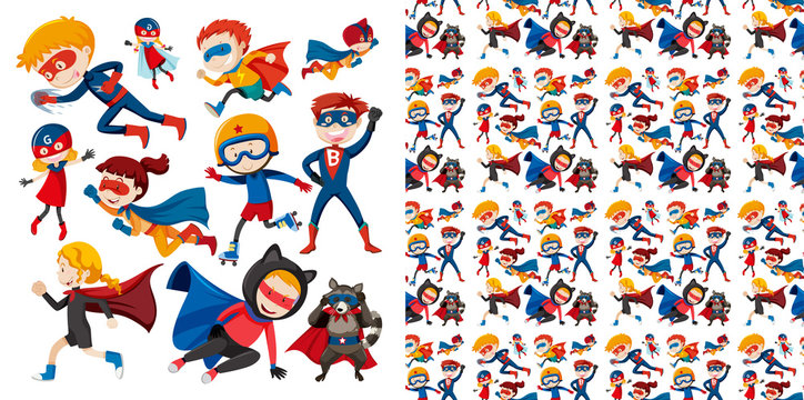 Seamless background design with superhero flying