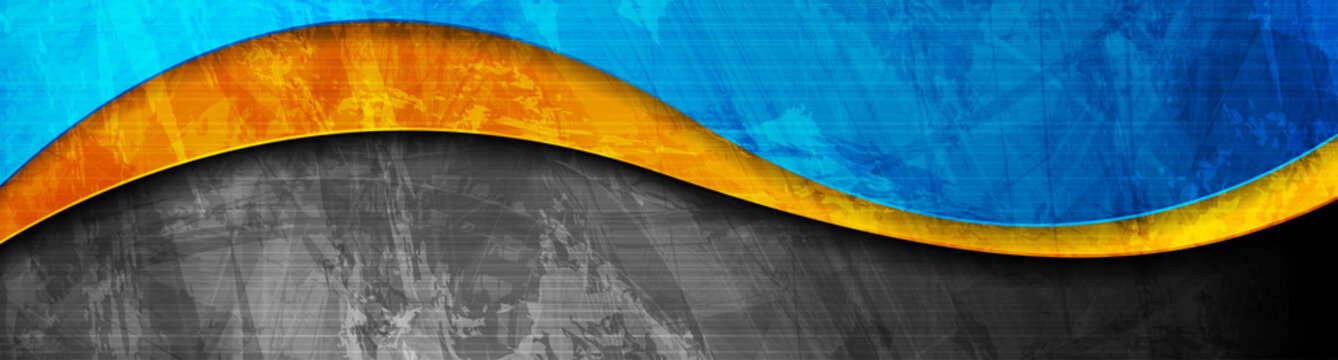 Contrast orange and blue curved waves. Abstract grunge wavy banner design. Old wall concrete texture. Vector corporate background