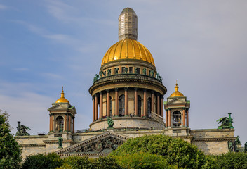 Close up of sculptures on the Saint Isaac's Cathedral in Saint Petersburg, Russia