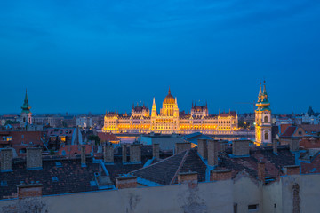 Hungarian Parliament Building in Budapest city, Hungary at night