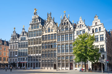 Old town square of Antwerp in Belgium