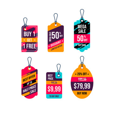 hanging tags vector collection. price tags design. label and sale tags for shopping promotions