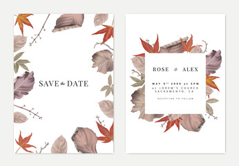 Botanical wedding invitation card template design, colorful dried leaves and branches on white Wall mural