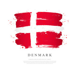 Flag of Denmark. Brush strokes are drawn by hand.