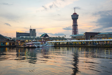 Hakata Port at sunset in Hakata, Fukuoka Prefecture, Japan