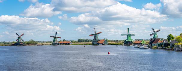 Windmills of Zaanse Schans town in Zaanstad, province of North Holland, Netherlands