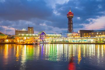 Hakata Port at night in Hakata, Fukuoka Prefecture, Japan
