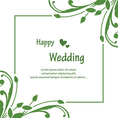 Wall Murals Retro sign Invitation card, with lettering happy wedding, pattern of red flower frame. Vector