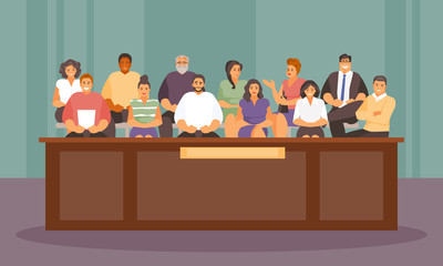 Jurors in the courtroom vector
