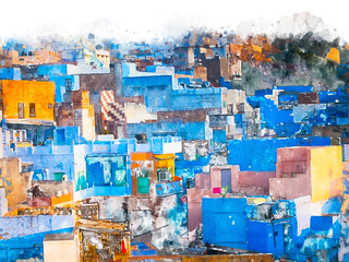 Digital painting of blue city, illustration of historic building for background. Jodhpur City in Rajasthan, India.