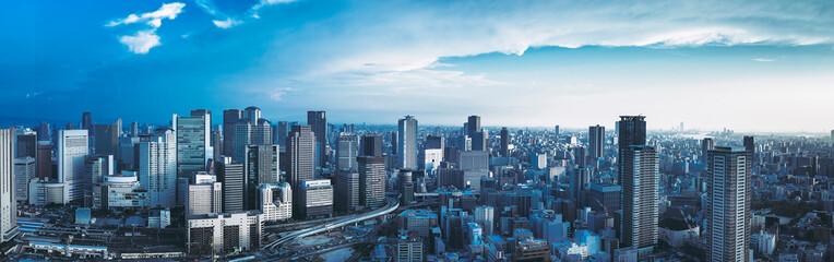 大阪・都市風景・パノラマ Fotobehang