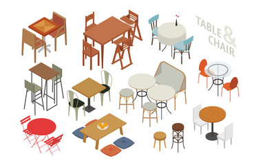 chair and table. Set of isometric furniture in various styles. flat design style minimal vector illustration.