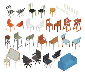 Set of isometric furniture in various chair styles. flat design style minimal vector illustration.