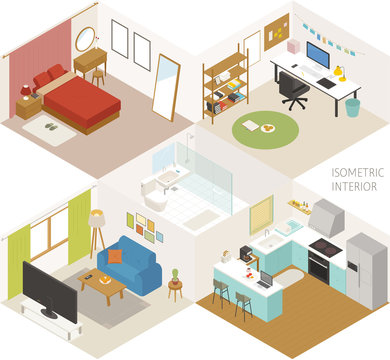 Room. Set of isometric furniture in various styles. flat design style minimal vector illustration.